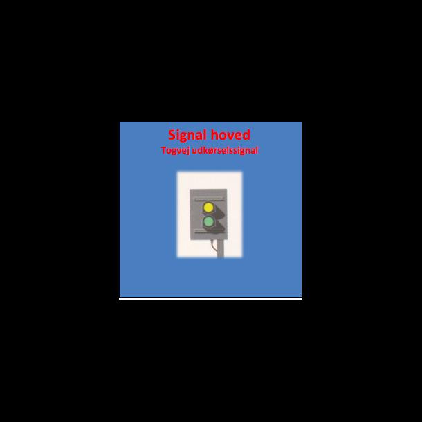 Togvejs udkørsels signal til 2 lanterner. SIGNAL HOVED.