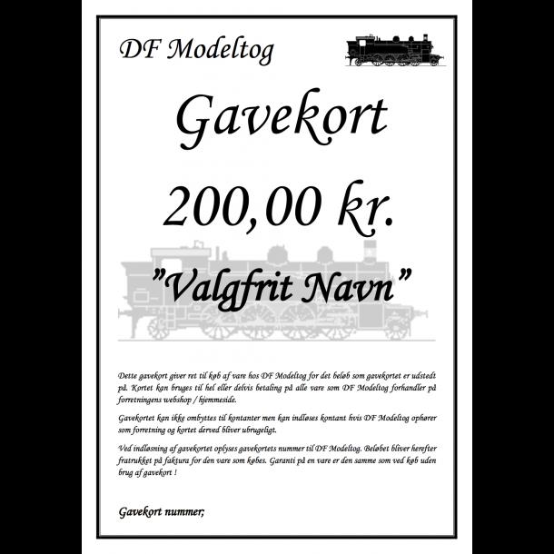 Gavekort på 200,00 kr.