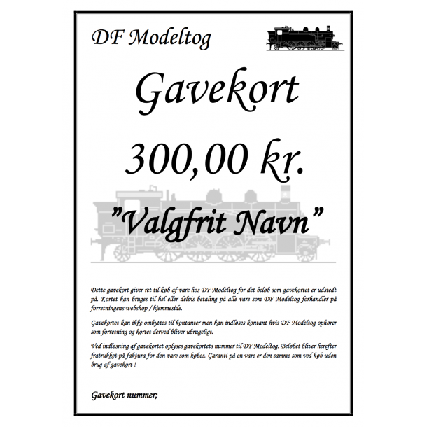 Gavekort på 300,00 kr.