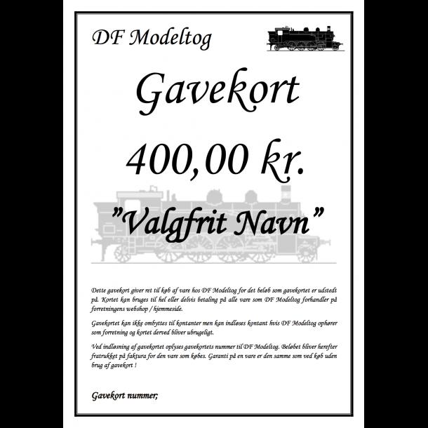 Gavekort på 400,00 kr.