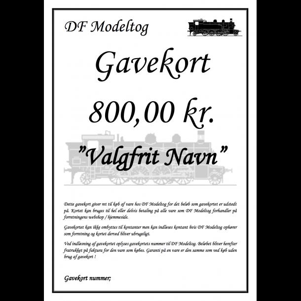 Gavekort på 800,00 kr.