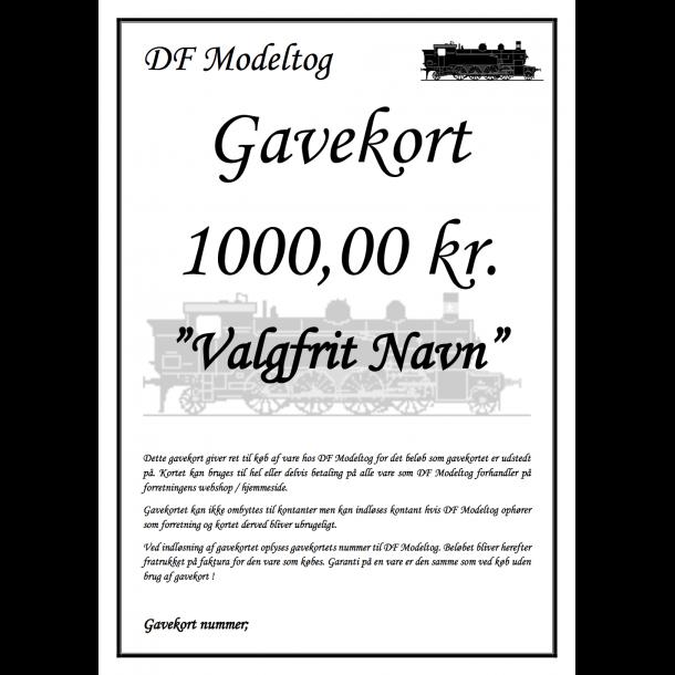 Gavekort på 1000,00 kr.