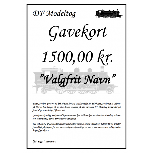 Gavekort på 1500,00 kr.