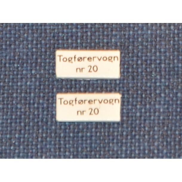 TOGFØRERVOGN nr. 20 - Skilt til vognsiden
